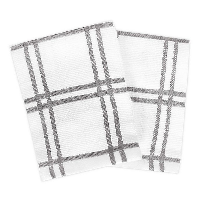 Alternate image 1 for KitchenSmart® Colors Plaid Dish Cloths (Set of 2)