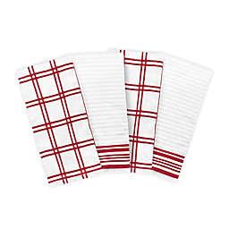KitchenSmart® Colors 4-Piece Plaid Kitchen Towel Set