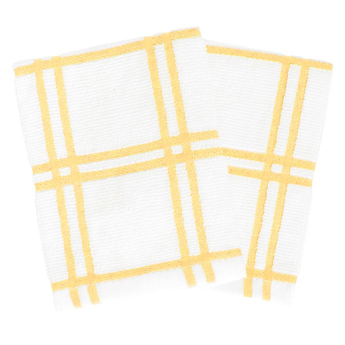 Alternate image 1 for KitchenSmart® Colors Plaid Dish Cloths in Canary (Set of 2)