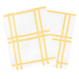 KitchenSmart® Colors Plaid Dish Cloths in Canary (Set of 2)
