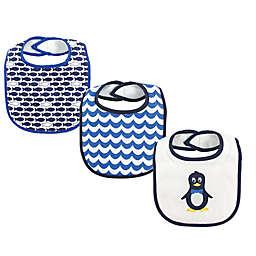 Luvable Friends® 3-Pack Mr. Penguin Drooler Bibs in Navy