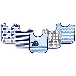 Luvable Friends® 5-Pack Whale Bibs in Blue