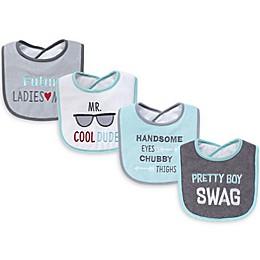 Hudson Baby® 4-Pack Pretty Boy Swag Bibs in Grey