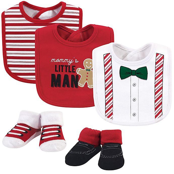 Alternate image 1 for Little Treasure 5-Piece Christmas Suspenders Bib and Sock Set