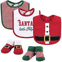 Little Treasure 5-Piece Santa Bib and Sock Set