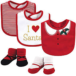 "Little Treasure 5-Piece ""I Heart Santa"" Bib and Sock Set in White"