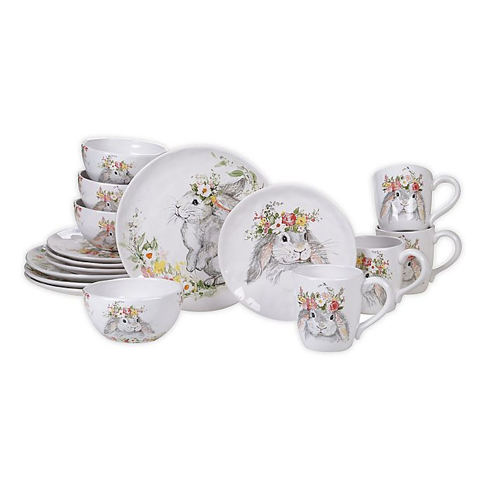 Alternate image 1 for Certified International Sweet Bunny 16-Piece Dinnerware Set