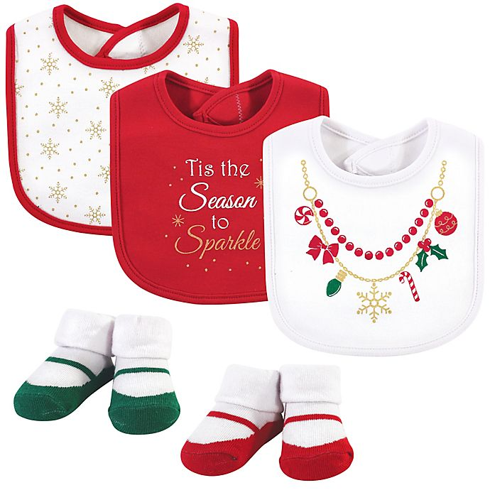 Alternate image 1 for Little Treasure 5-Piece Christmas Necklace Bib and Sock Set