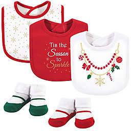 Little Treasure 5-Piece Christmas Necklace Bib and Sock Set