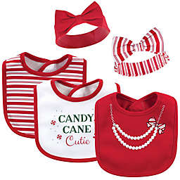 "Little Treasure 5-Piece ""Candy Cane Cutie"" Bib and Headband Set in Red"