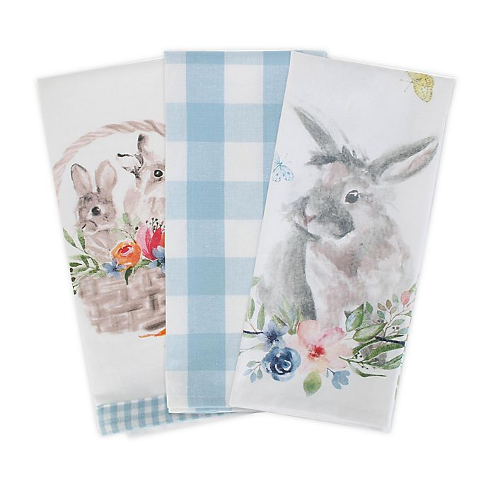 Alternate image 1 for DII Cotton Floral Bunnies Reversible Kitchen Towel (Set of 3) in White/Light Blue