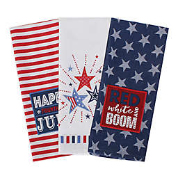 DII Cotton 4th of July Reversible Kitchen Towel (Set of 3) in Red/White/Blue