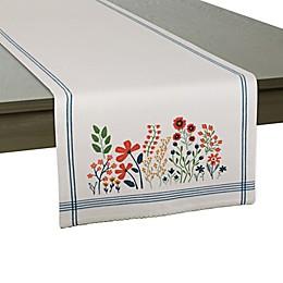 Dii® Flower Garden Embellished Table Runner in White/Light Blue