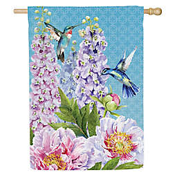 Evergreen Peonies & Hummingbirds Double-Sided Garden Flag