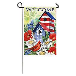 Evergreen Patriotic Cardinal Birdhouse Double-Sided Garden Flag