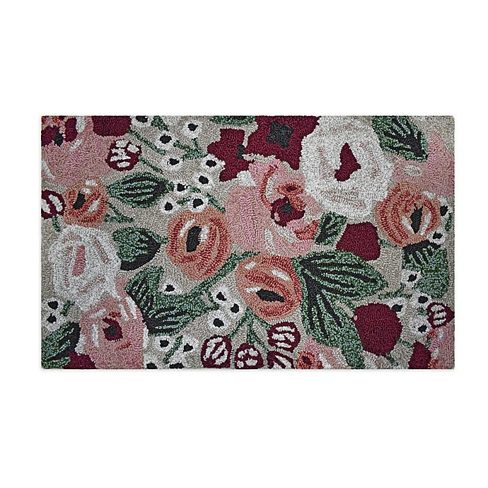 Alternate image 1 for Easy Care Abstract Floral 1'8 x 2'10 Indoor/Outdoor Accent Rug in Red/Green