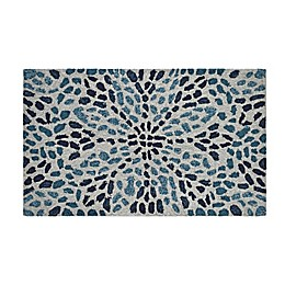Easy Care Floral 1'8 x 2'10 Indoor/Outdoor Accent Rug in Sea Blue