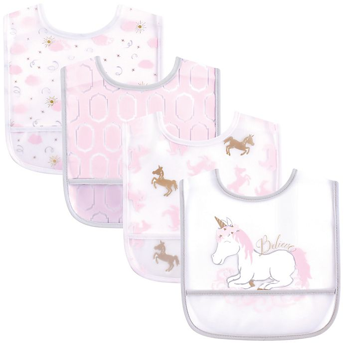 Alternate image 1 for Yoga Sprout 4-Pack Unicorn Bibs