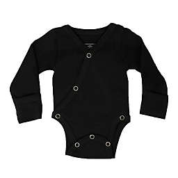L'ovedbaby® Size 0-3M Kimono Organic Cotton Long Sleeve Bodysuit in Black