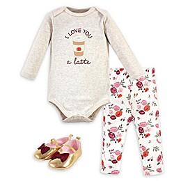 Hudson Baby® 3-Piece Long Sleeve Bodysuit, Pant, and Shoe Set