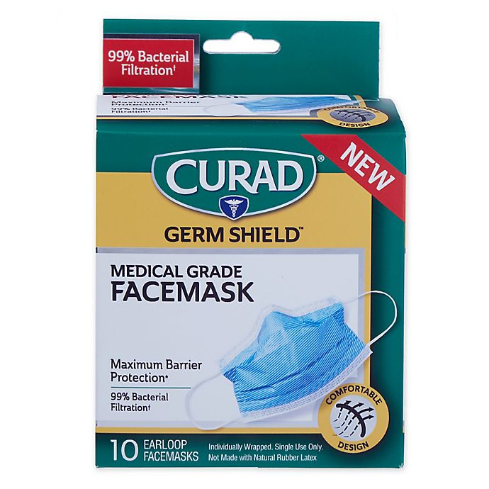 Alternate image 1 for Curad® Germ Shield™ Medical Grade Facemask with Earloops (Set of 10)