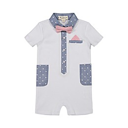 Beetle & Thread® Americana Polo Romper in White/Blue