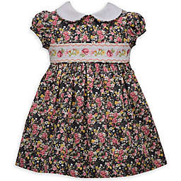 Bonnie Baby 2-Piece Flower Smocked Dress in White/Pink