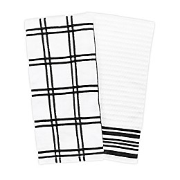 KitchenSmart® Colors 2 Plaid Windowpane Kitchen Towels in Black (Set of 2)