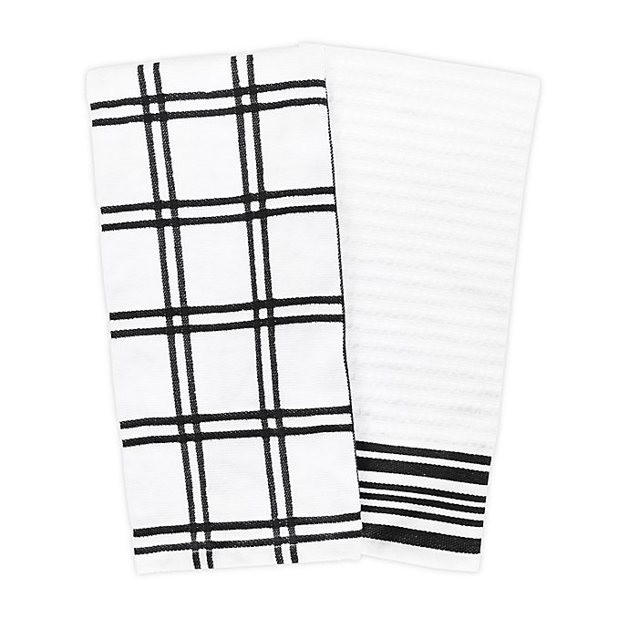 Alternate image 1 for KitchenSmart® Colors 2 Plaid Windowpane Kitchen Towels in Black (Set of 2)