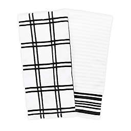 KitchenSmart® Colors Plaid Windowpane Kitchen Towels in Black (Set of 2)