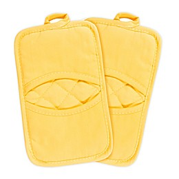 KitchenSmart® Colors 2 Solid Pocket Pot Mitts in Canary (Set of 2)