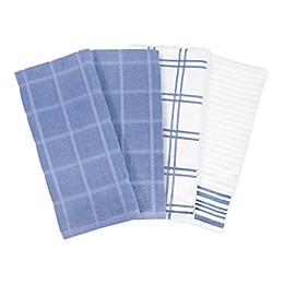 KitchenSmart® Colors 2 Solid/Plaid Kitchen Towels in Capri (Set of 4)