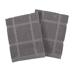 KitchenSmart® Colors Solid Dish Cloths in Grey (Set of 2)