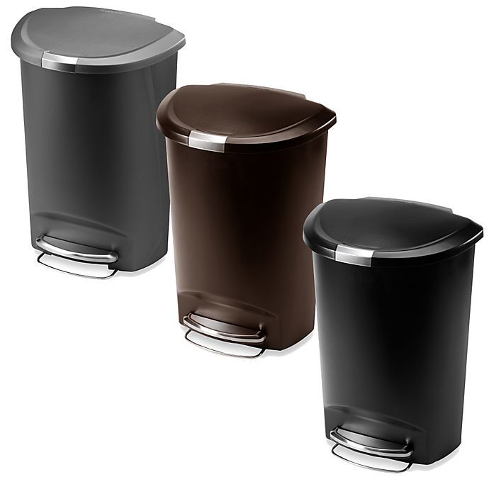 Alternate image 1 for simplehuman® Plastic Semi-Round 50-Liter Step-On Trash Can
