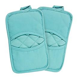 KitchenSmart® Colors 2 Solid Pocket Pot Mitts in Teal (Set of 2)