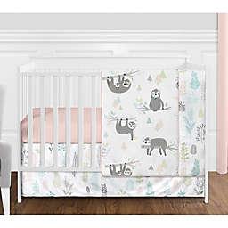 Sweet Jojo Designs Sloth Reversible 4-Piece Crib Bedding Set in Blush/Grey