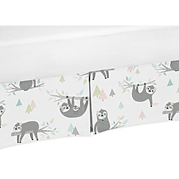 Sweet Jojo Designs Sloth Crib Skirt in Blush/Grey