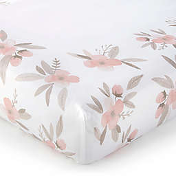 Levtex Baby® Stella Place Print Cotton Floral Fitted Crib Sheet in Blush/White