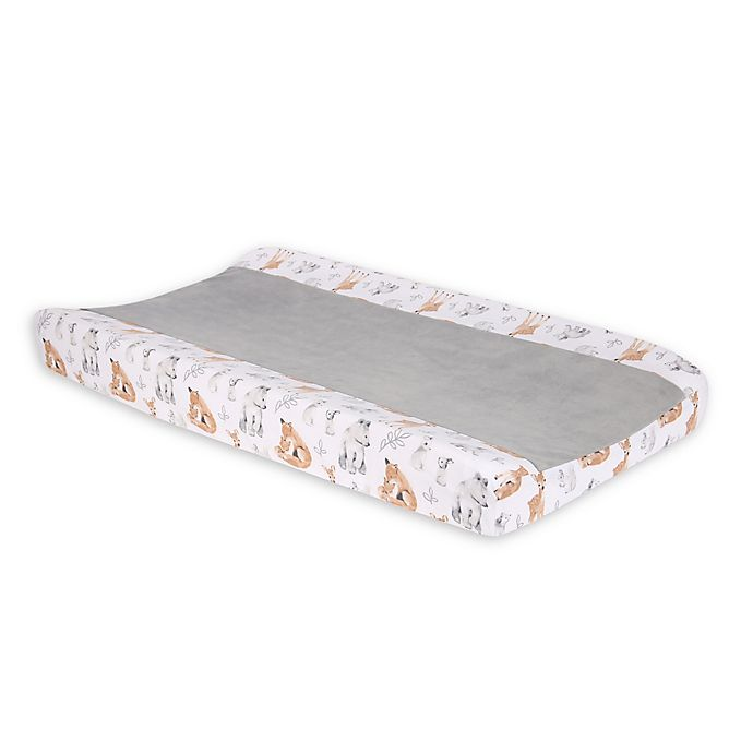 Alternate image 1 for Lambs & Ivy Painted Forest Changing Pad Cover in Beige/White