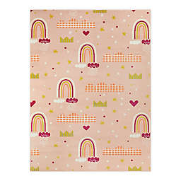 Hearthstone Princess Rainbows 5'3 x 7' Area Rug in Peach