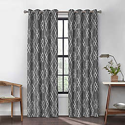 Urban Thread Atwood 95-Inch Grommet Light Filtering Lined Window Curtain Panel in Charcoal