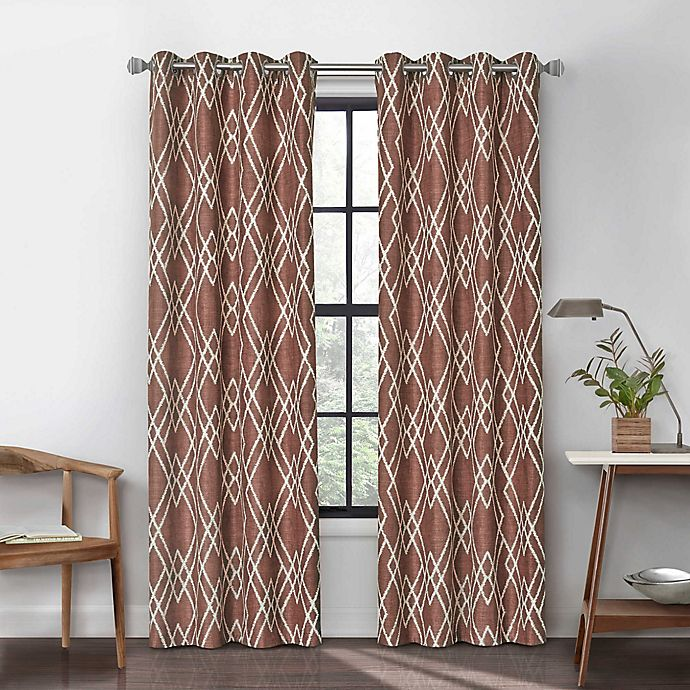 Alternate image 1 for Urban Thread Atwood 63-Inch Grommet Light Filtering Lined Window Curtain Panel in Brick
