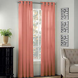 Newport 63-Inch Grommet Window Curtain Panel in Coral