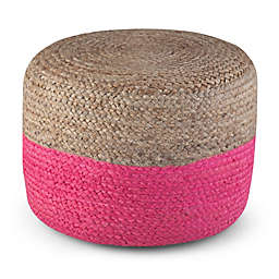 Lydia Round Pouf, Pink, Natural Braided Jute