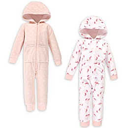 Hudson Baby® 2-Pack Unicorn Fleece Hooded Toddler Coveralls in Pink