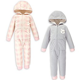 Hudson Baby® 2-Pack Baby Bear Hooded Fleece Toddler Jumpsuits in Grey/Pink