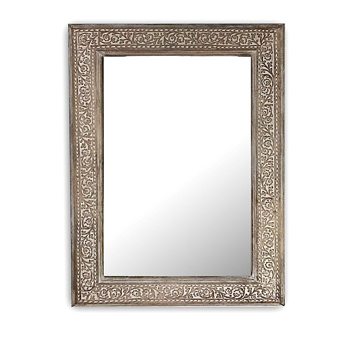 Alternate image 1 for Global Caravan™ Mango 18-Inch x 24-Inch Carved Wooden Wall Mirror in White Wash