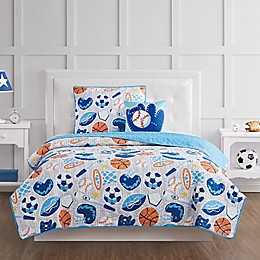 My World All Star Quilt Set in Grey/Blue