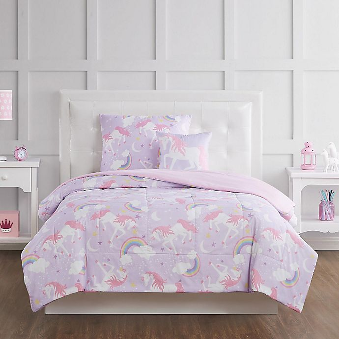 Alternate image 1 for My World Rainbow Unicorn Bedding Collection in Purple/Pink