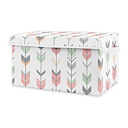 Sweet Jojo Designs Woodland Arrow Toy Bin in Coral/Mint